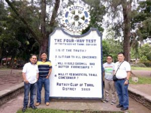 Visited at the Rotary marker of RC Toril yesterday afternoon. This marker was made possible by PP Boy Unabia during his term as President of RC Toril 1983-1984.